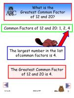 what is the greatest common factor of 12 and 20