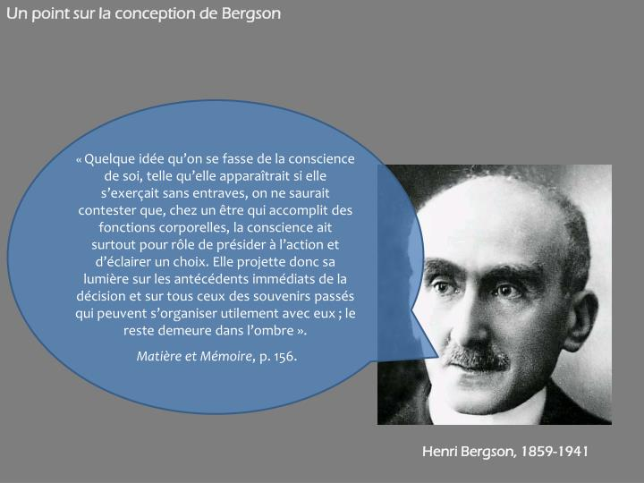Un point sur la conception de Bergson