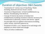duration of objectives 3 4 2weeks
