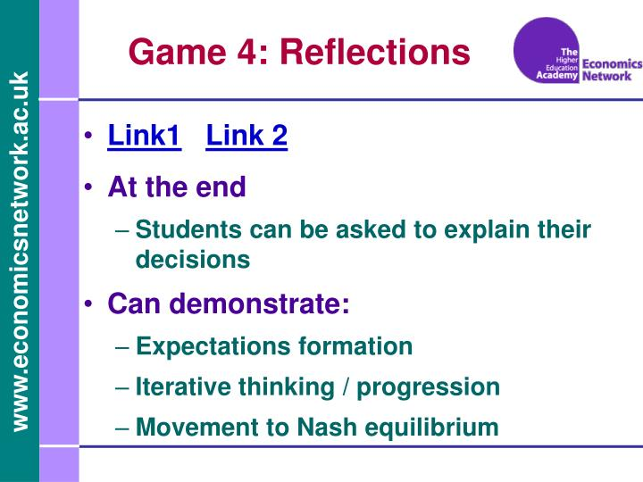 Game 4: Reflections