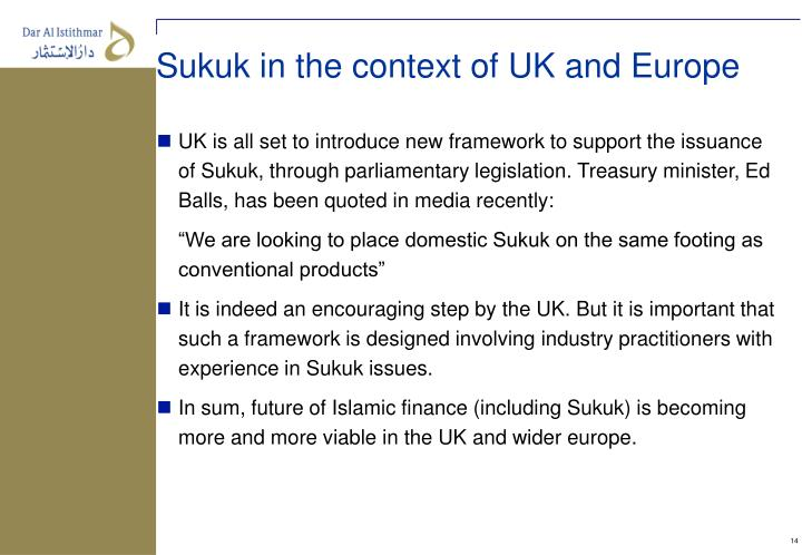 Sukuk in the context of UK and Europe