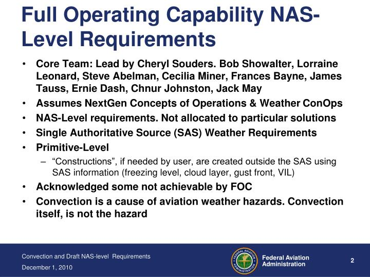 Full operating capability nas level requirements