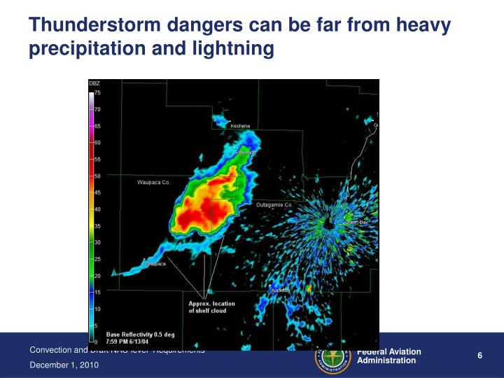 Thunderstorm dangers can be far from heavy precipitation and lightning