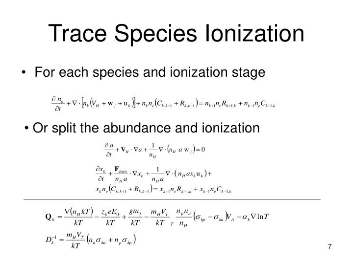 For each species and ionization stage