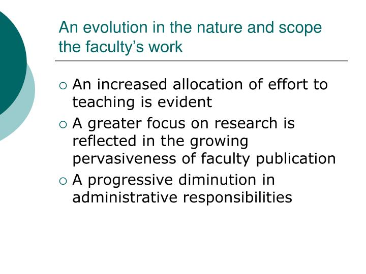 An evolution in the nature and scope the faculty's work