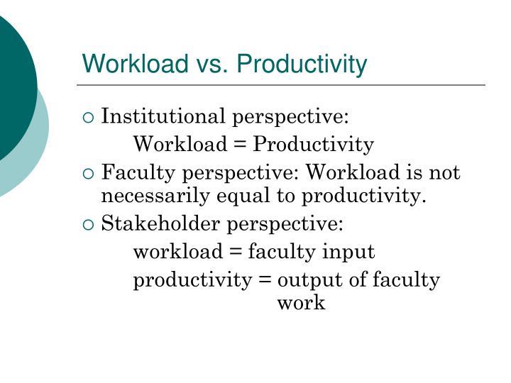 Workload vs. Productivity