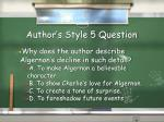 author s style 5 question