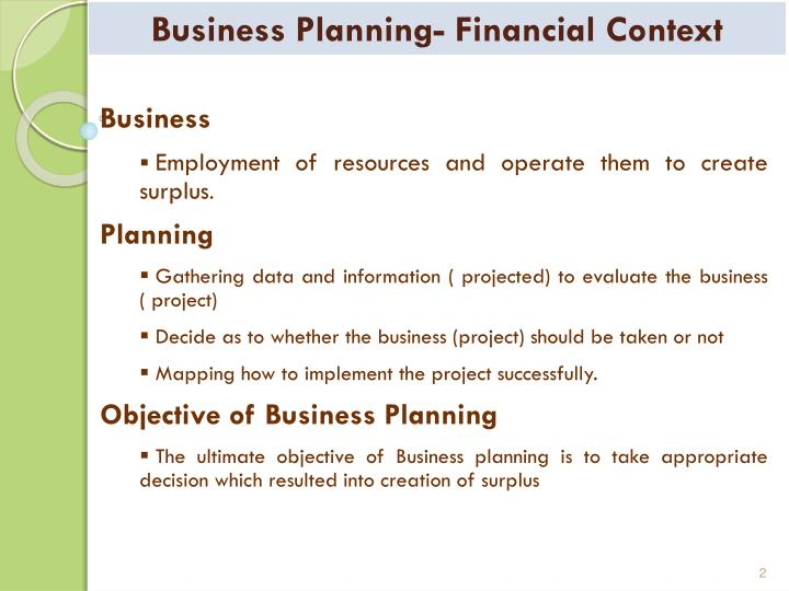 Business planning financial context