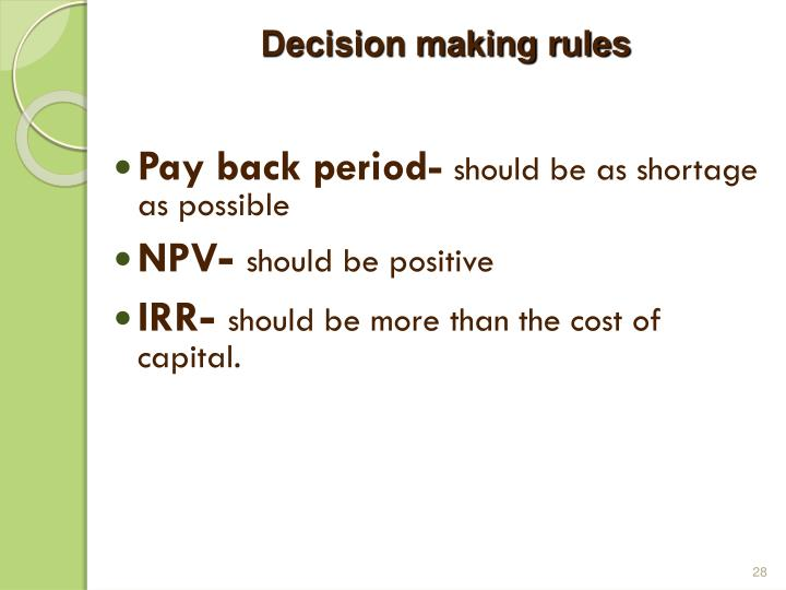 Decision making rules