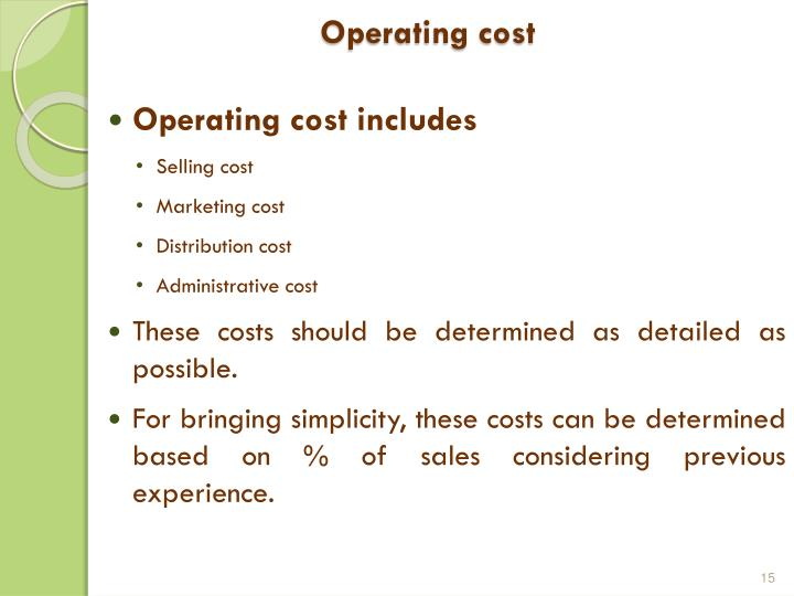 Operating cost