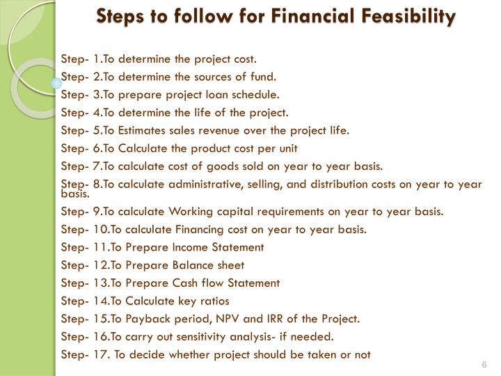 Steps to follow for Financial Feasibility