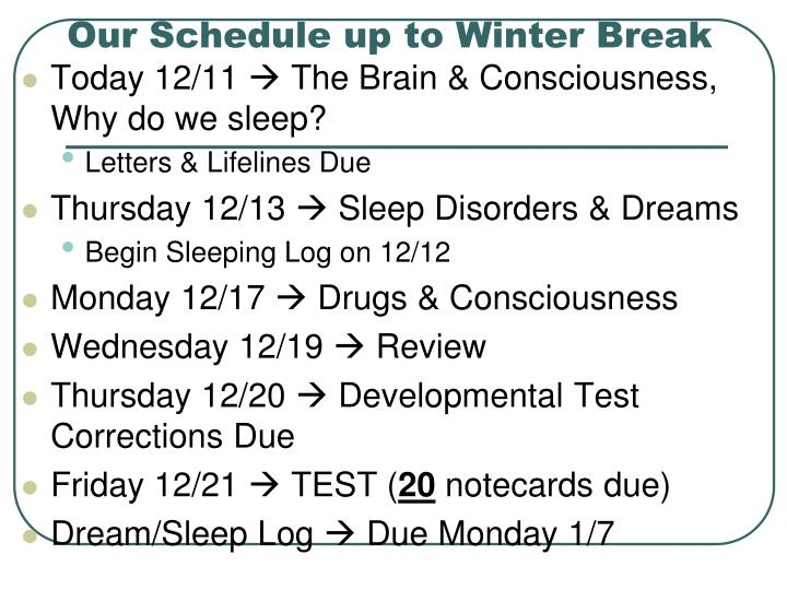 Our Schedule up to Winter Break
