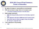 2010 2011 general fund summary points to remember