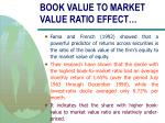 book value to market value ratio effect