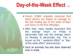 day of the week effect