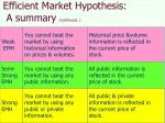 efficient market hypothesis a summary continued