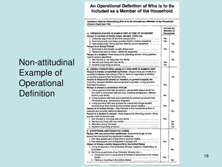 Non-attitudinal Example of Operational Definition