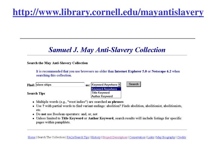 http://www.library.cornell.edu/mayantislavery