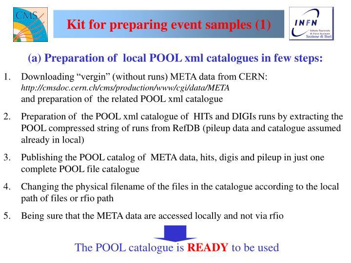 Kit for preparing event samples (1)