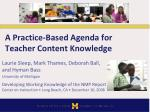 a practice based agenda for teacher content knowledge