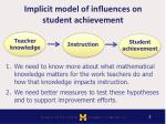 implicit model of influences on student achievement