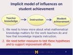 implicit model of influences on student achievement1