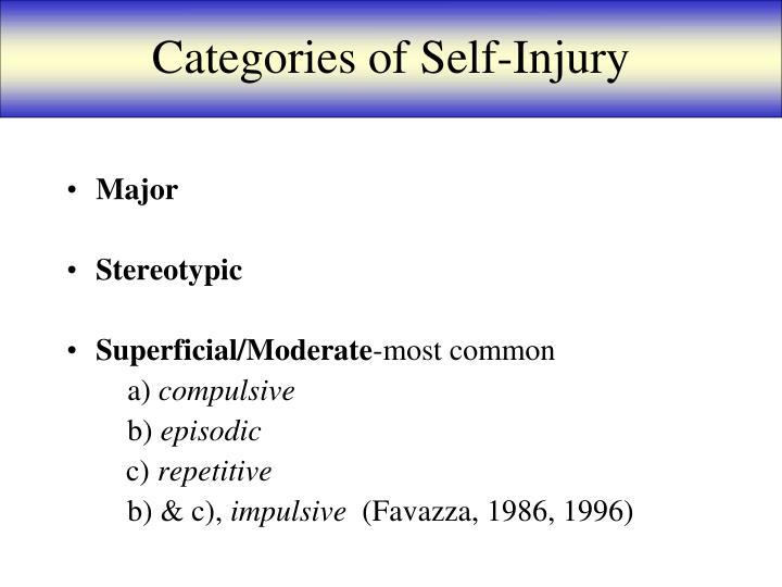 Categories of Self-Injury