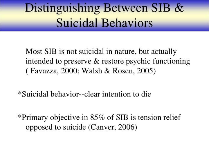Distinguishing Between SIB & Suicidal Behaviors