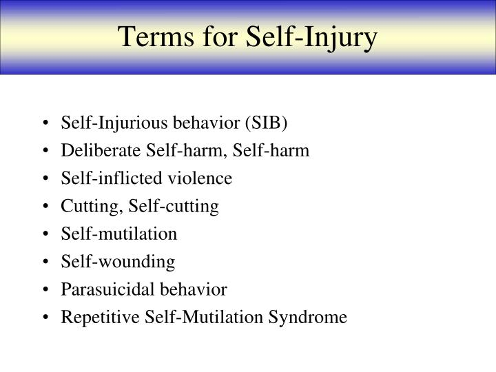 Terms for Self-Injury