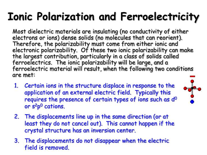 Ionic Polarization and Ferroelectricity