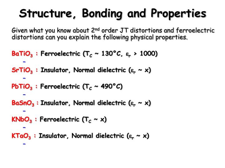 Structure, Bonding and Properties