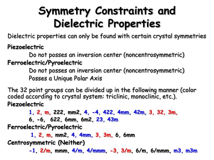 Symmetry Constraints and Dielectric Properties