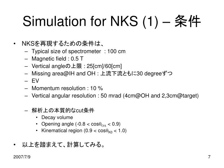 Simulation for NKS (1) –