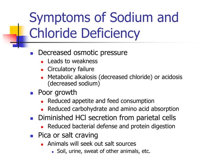 Symptoms of Sodium and Chloride Deficiency