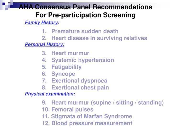 AHA Consensus Panel Recommendations