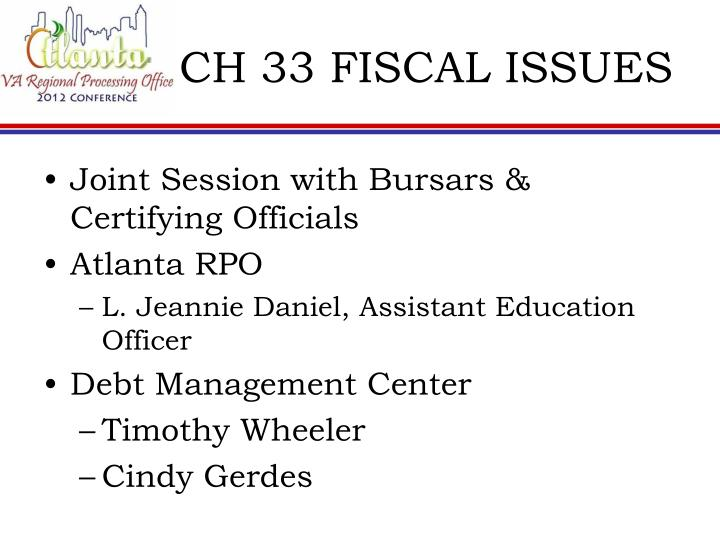 Ch 33 fiscal issues