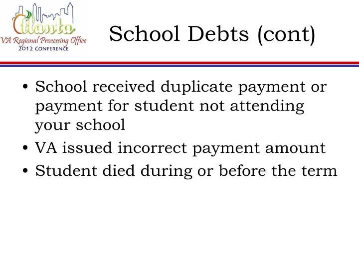School Debts (cont)