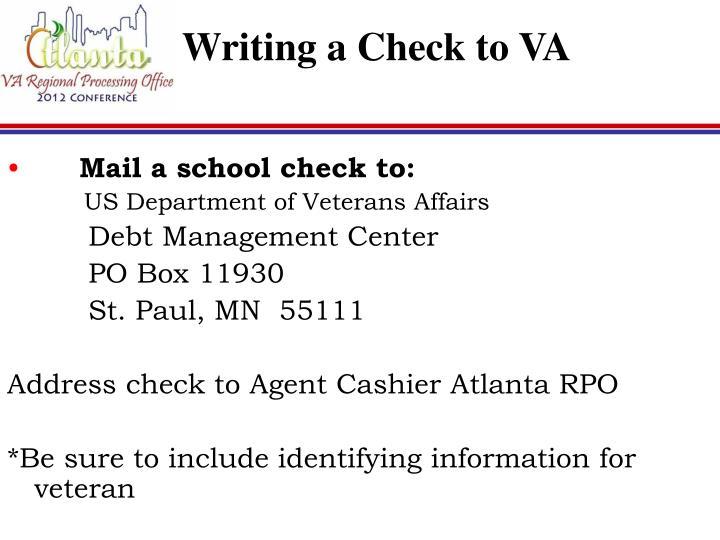 Writing a Check to VA