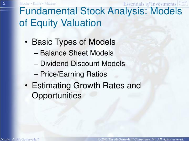 Fundamental stock analysis models of equity valuation