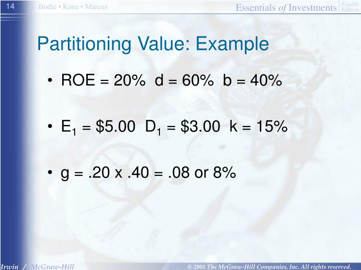 Partitioning Value: Example