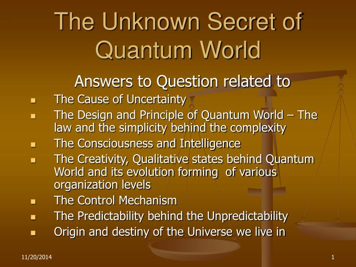 the unknown secret of quantum world n.