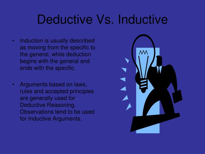 deductive versus inductive Sal discusses the difference between inductive and deductive reasoning by considering a word problem.