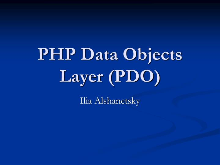 php data objects layer pdo n.
