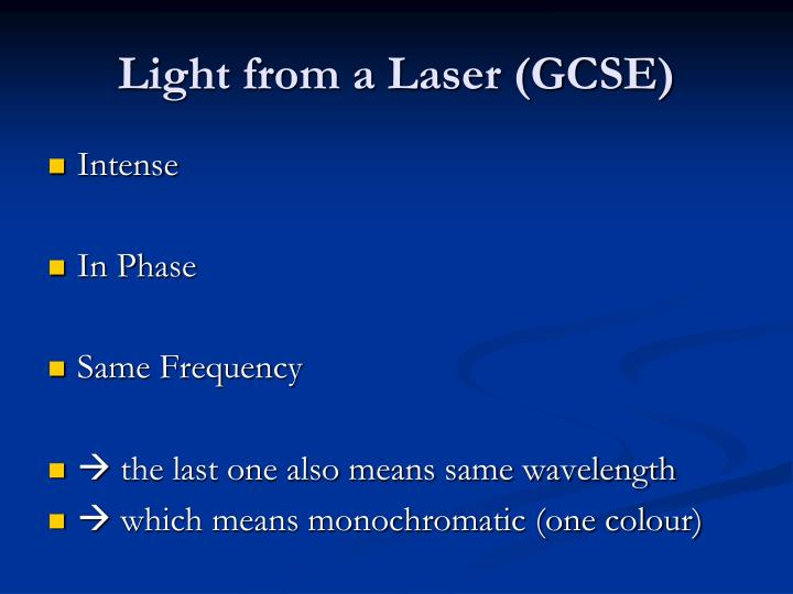 Light from a Laser (GCSE)