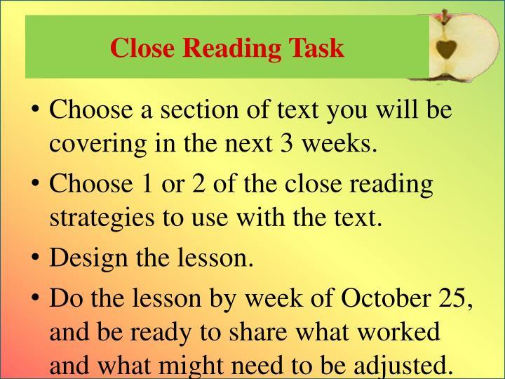 Close Reading Task