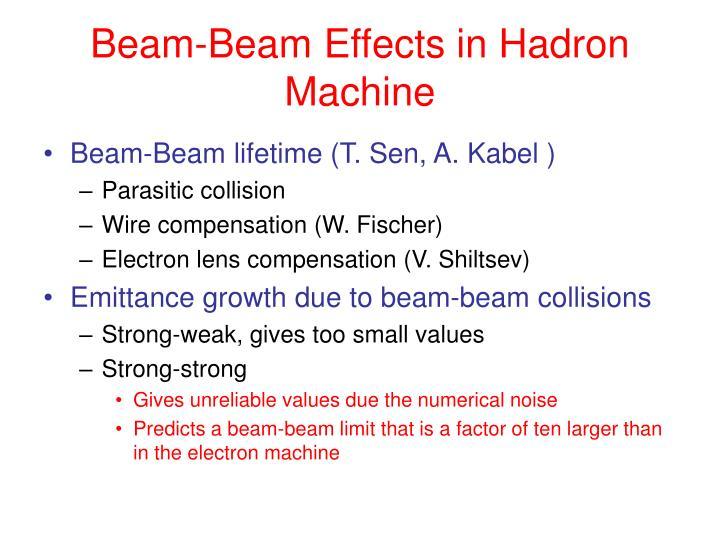 Beam beam effects in hadron machine