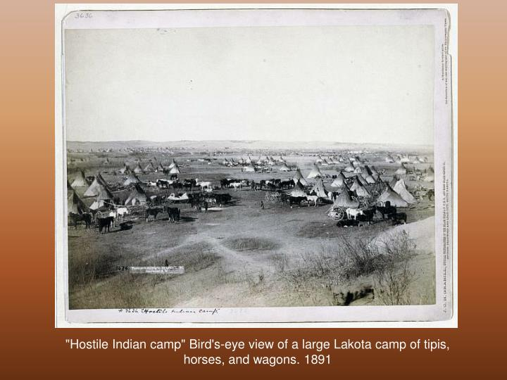 """Hostile Indian camp"" Bird's-eye view of a large Lakota camp of tipis, horses, and wagons. 1891"