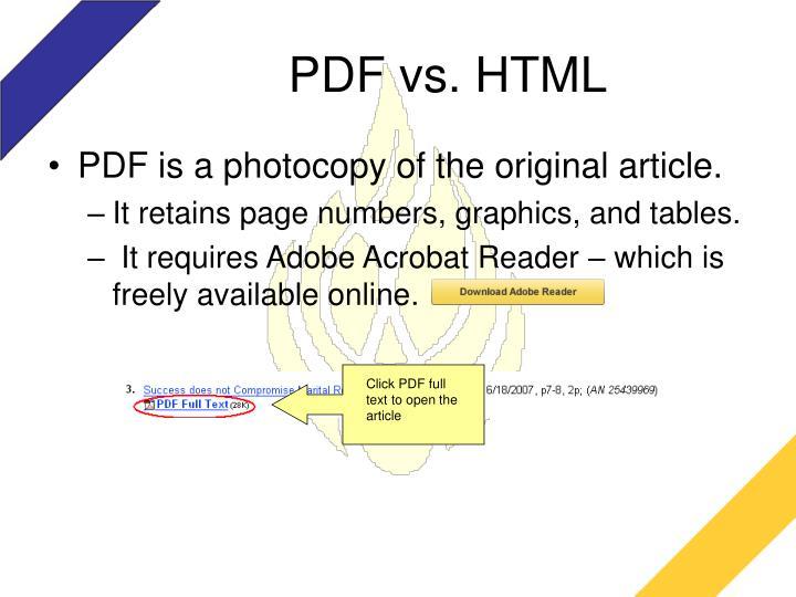 PDF vs. HTML