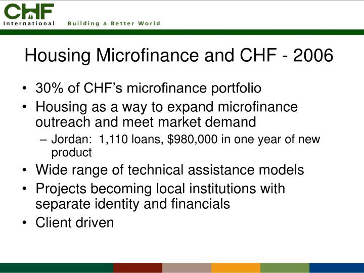 Housing microfinance and chf 2006