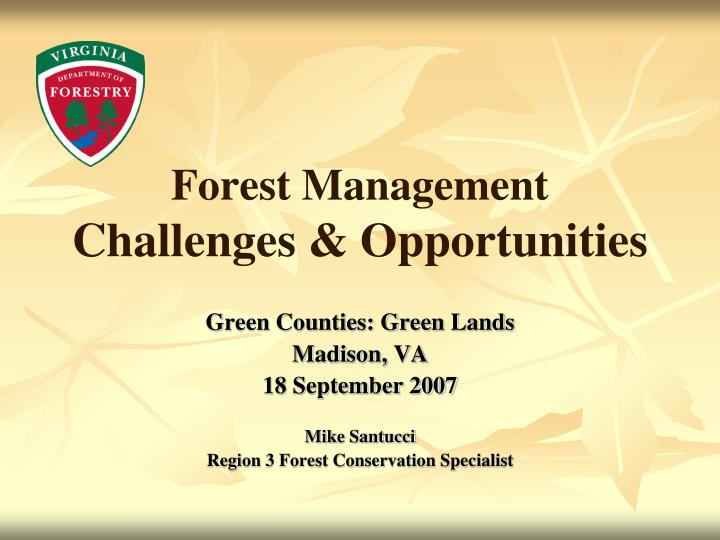forest management challenges opportunities n.